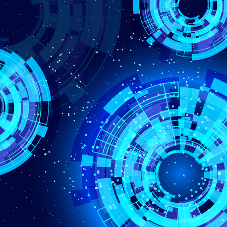 hologram: abstract blue background with technology design elements. Illustration