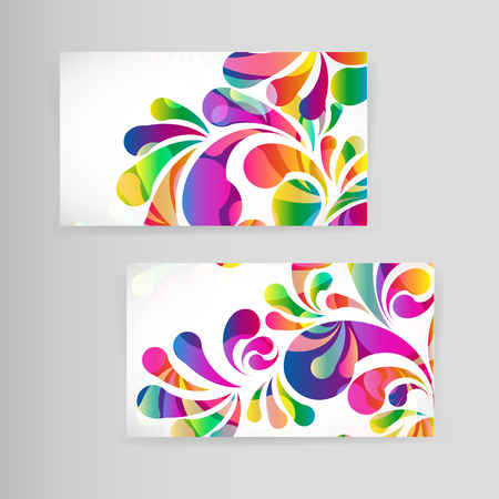 splash page: Sample business card with bright teardrop-shaped arches.