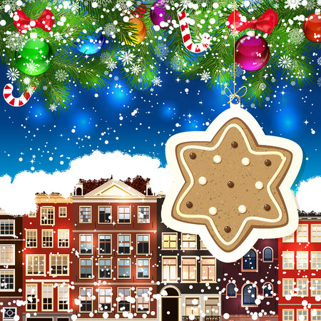 snowcovered: Ginger star on the background of snow-covered streets. New Year design background. Falling snow.  Holiday illustration with place for text.