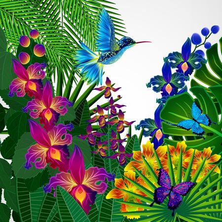 disegno di sfondo floreale. fiori di orchidea tropicali, uccelli e farfalle.