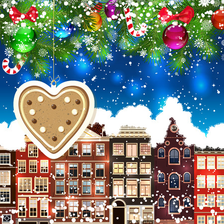 snowcovered: Gingerbread heart on the background of snow-covered streets. New Year design background. Falling snow.  Holiday illustration with place for text.