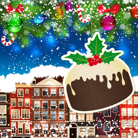snowcovered: Puding on the background of snow-covered streets. New Year design background. Falling snow.  Holiday illustration with place for text.