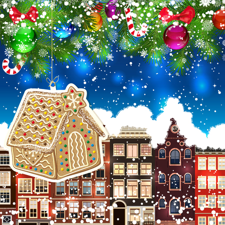 Gingerbread haus on the background of snow-covered streets. New Year design background. Falling snow.  Holiday illustration with place for text. Illustration