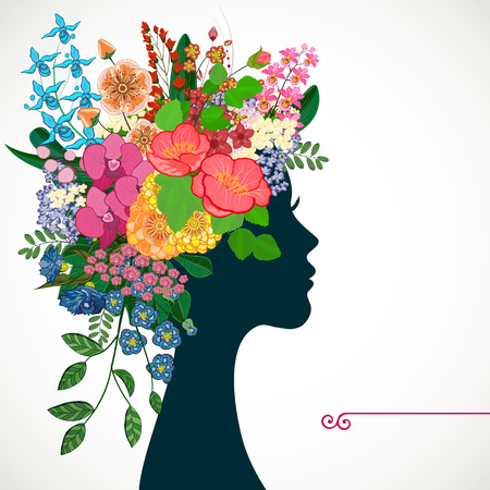 heir: Beautiful profile young woman with tropicl flowers in heir hair. Vector illustration greeting card beauty and fashion. Illustration