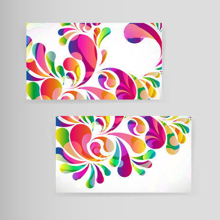 arches: Sample business card with bright teardrop-shaped arches.