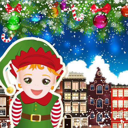 snowcovered: Elf on the background of snow-covered streets. New Year design background. Falling snow.  Holiday illustration with place for text.