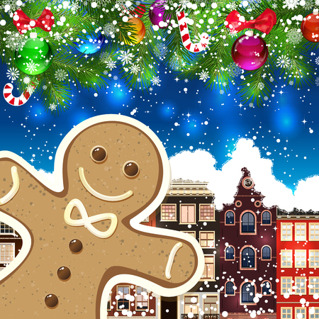 Gingerbread man on the background of snow-covered streets. New Year design background. Falling snow.  Holiday illustration with place for text. Illustration