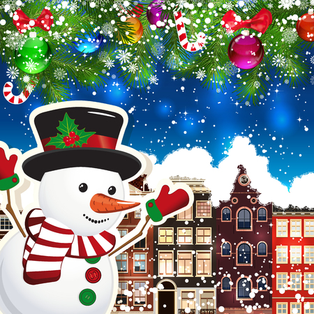 snowcovered: Snowman on the background of snow-covered streets. New Year design background. Falling snow.  Holiday illustration with place for text. Illustration