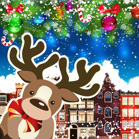 Deer on the background of snow-covered streets. New Year design background. Falling snow.  Holiday illustration with place for text.