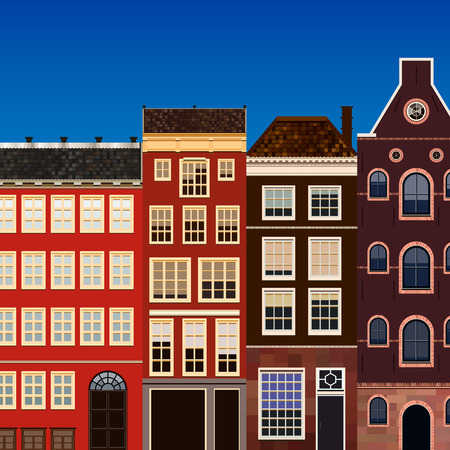 old houses: Street of abstract old houses. Illustration