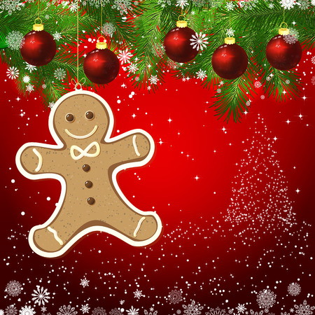 man made: gingerbread man New Year design background. Template card whit red Christmas balls on the green branches. Silhouette of a Christmas tree made of stars. Falling snow.  Holiday illustration with place for text. Illustration