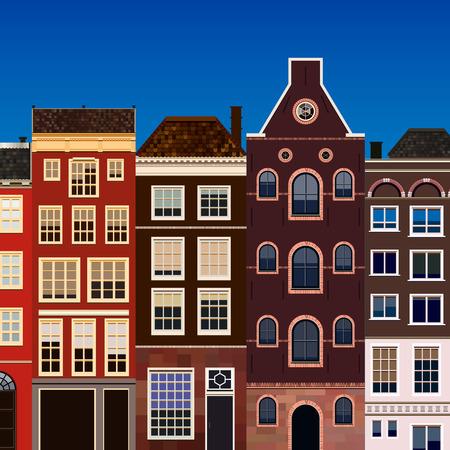 Straat van abstracte oude huizen. Vector achtergrond.