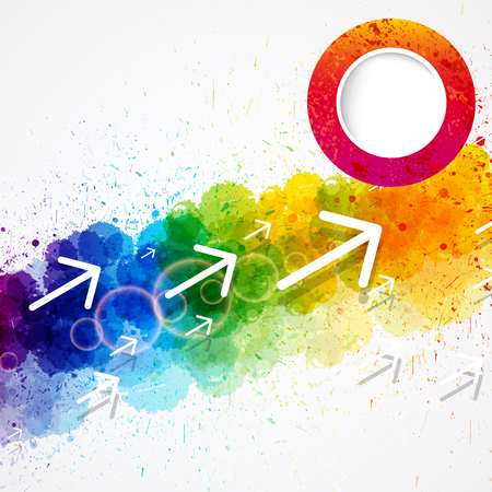 Vector abstract rainbow watercolor background with arrows and paint splash design.