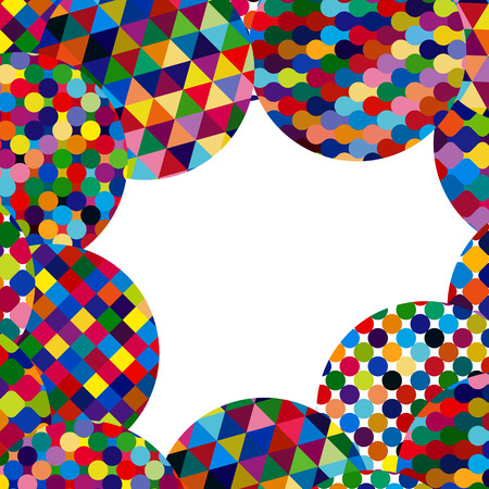 cd label: Abstract background with bright mosaic circles.