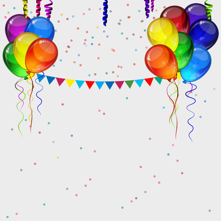 birthday party background: Birthday party vector background - realistic transparency colorful festive balloons, confetti, ribbons flying for celebrations card in isolated white background with space for you text.