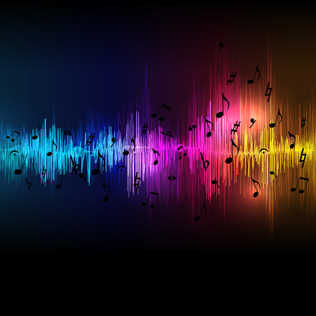 classical: Vector music equalizer waves background, spectrum abstract illustration.