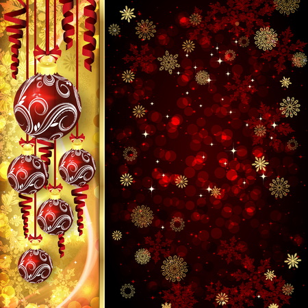 hristmas: Vector ?hristmas card with ?hristmas balls, serpentine on golden and red background.