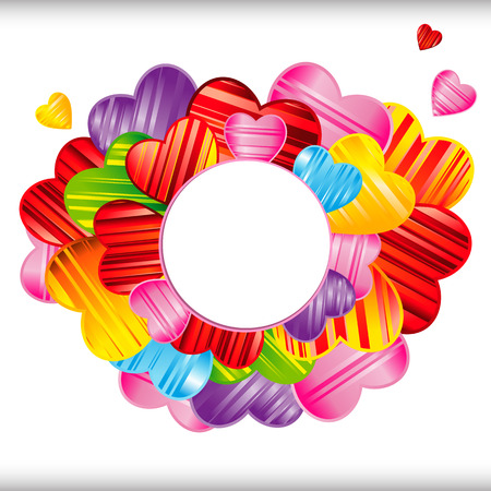 Vector Valentines day background with striped pattern hearts , design illustration. Illustration