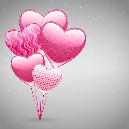 Vector de amor de fondo abstracto con corazones de color rosa para el día de San Valentín.