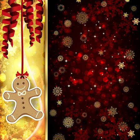 hristmas: Vector ?hristmas card with ?hristmas decor, serpentine, snowflakes, confetti on golden and red background.
