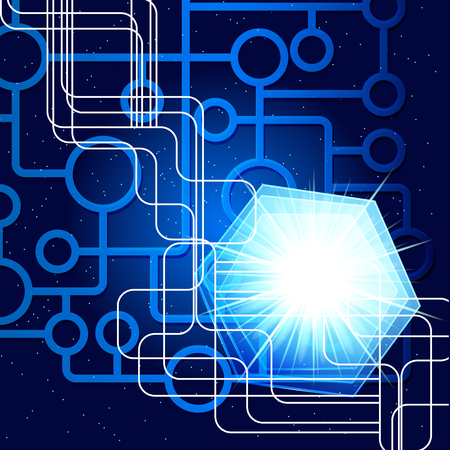 technology abstract background: abstract blue technology background. Illustration
