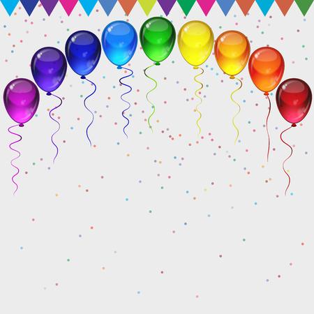 Cumpleaños vector del partido de fondo - realista de transparencia coloridos globos de fiesta, confeti, cintas que vuelan para la tarjeta de celebraciones en fondo blanco con espacio para usted texto. Ilustración de vector