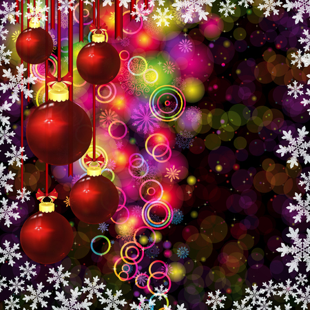 Christmas balls. Abstract colorful circles and snowflakes on a dark background.