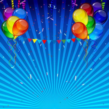 Cumpleaños vector del partido de fondo - realista de transparencia coloridos globos de fiesta, confeti, cintas que vuelan para la tarjeta de celebraciones en fondo blanco con espacio para usted texto.