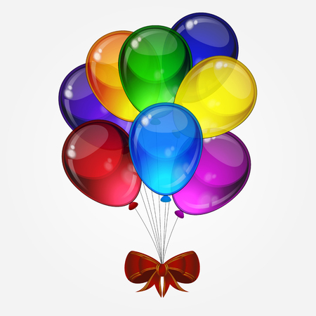 Birthday party vector -  colorful festive balloons with bow for celebrations card in isolated white background with space for you text.
