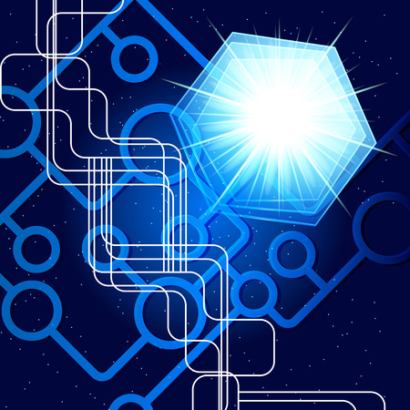abstract blue technology background. Illustration