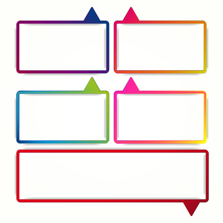 empty frame: Colorful speech bubble frames on a white background. Vector labels in the form of an empty frame for your text.