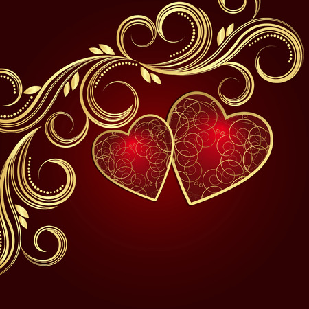 floral swirls: Valentines day red background with hearts and golden floral swirls.