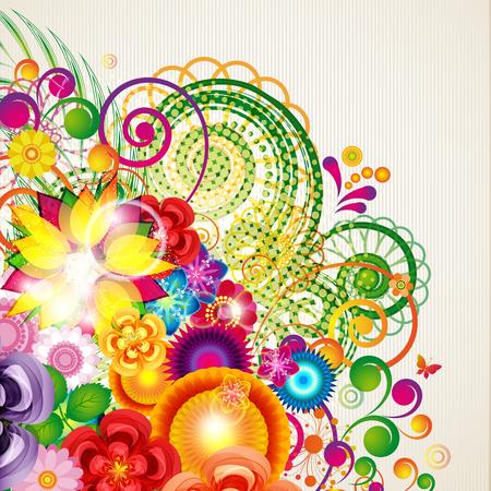 Flowers spring design background, floral pattern, illustration.