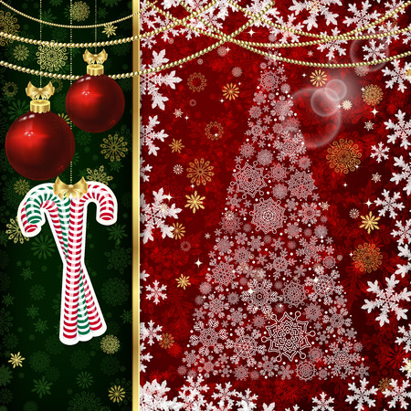 Christmas background with Christmas balls and snowflakes.