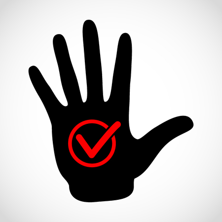 check sign: Black hand and check list button icon vector concept. Check mark in round sign vector emblem. Vector hands icon illustration.