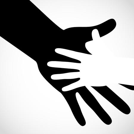 help symbol: Black color big hand and white small hand vector concept. Help symbol hands vector support emblem. Vector hands icon illustration. Education, health care, medical, design element. Illustration