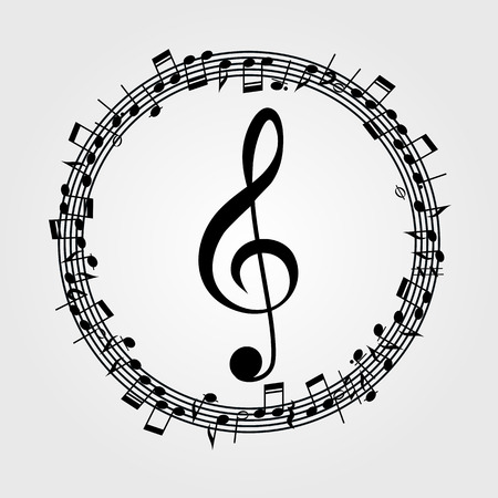 Vector music  background: melody, notes, key. 일러스트