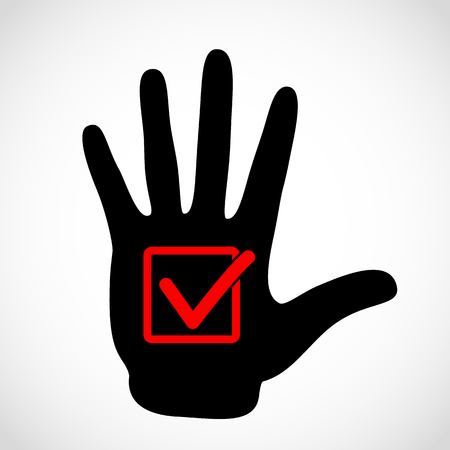 Black hand and check list button icon vector concept. Check mark in in box sign vector emblem. Vector hands icon illustration.