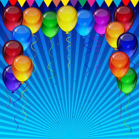 blue party: Birthday party vector background - colorful festive balloons, confetti, ribbons flying for celebrations card in blue background with space for you text.
