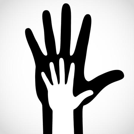 care symbol: Black color big hand and white small hand vector concept. Help symbol hands vector support emblem. Vector hands icon illustration. Education, health care, medical, design element. Illustration