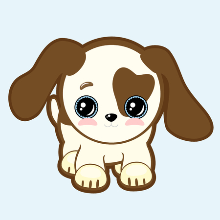 cute puppy with expressive eyes and big ears vector vet or pet