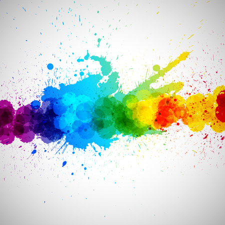 Holi vector background, abstract colorful splash paint blots. Bright spots and blobs for holiday design poster, card, banner, etc.