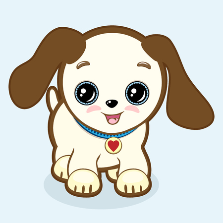 Cute Puppy with Expressive Eyes and Big Ears. Vector Vet or Pet Shop Symbol, 2018 year. Little Dog Icon. Simple Cartoon Illustration.