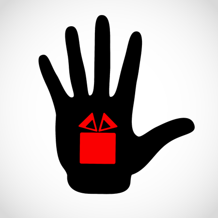 Black hand and gift box sign on the palm vector concept. Vector hands icon illustration. Symbol bonus, souvenir, present, donative, bounty. Illustration
