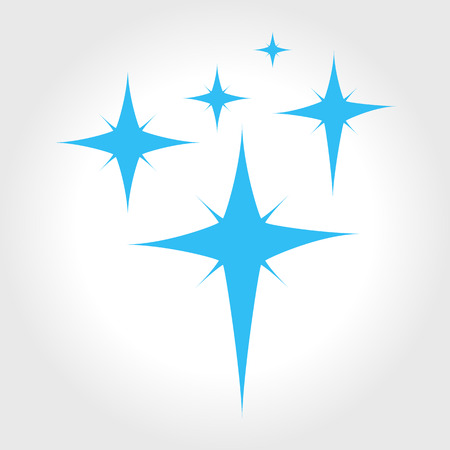 Blue stars isolated on a white background. Clean, magic vector icon illustration. Sign abstract symbol. Illustration