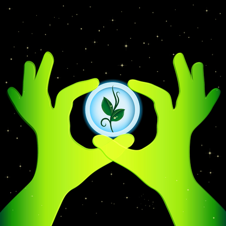 green environment: Earth day ecology concept background. Illustration with a small sprout in a round paper frame holds green hands. Protect the environment!