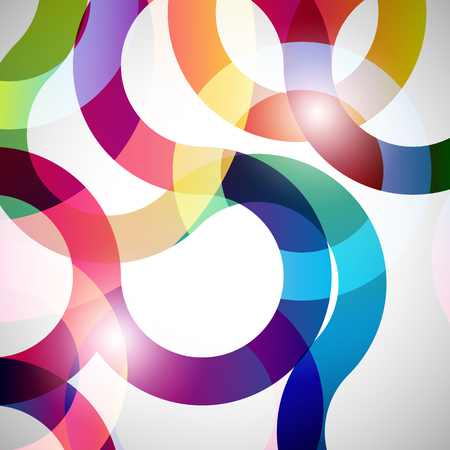 endlos: Rainbow loops, vector abstract background, design shape.