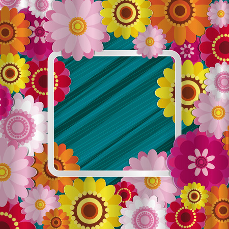 Spring congratulatory floral background. Festive paper flowers on a square light frame. Shaded noble turquoise background. Vector greeting card with a holiday on March 8, Mothers Day, birthday.