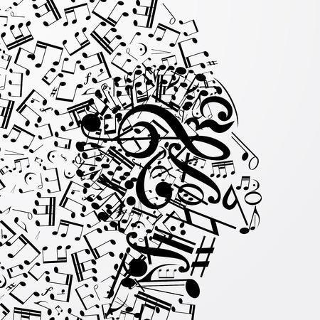 Profil féminin abstrait composé de signes musicaux, notes. Affiche musicale avec DJ, âme de la musique, pochette pour CD. Illustration vectorielle.