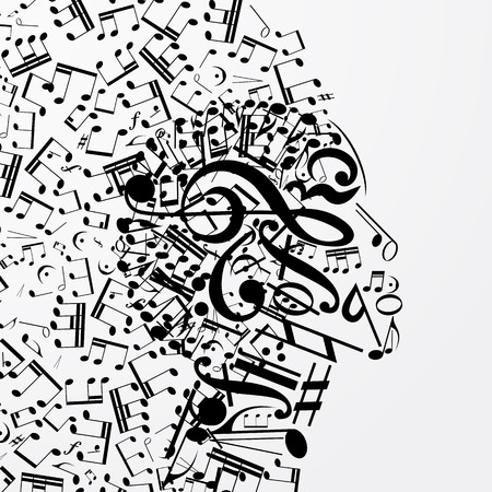 Resumen perfil femenino compuesto de signos musicales, notas. Cartel musical con DJ, alma de música, portada para CD. Ilustración del vector.